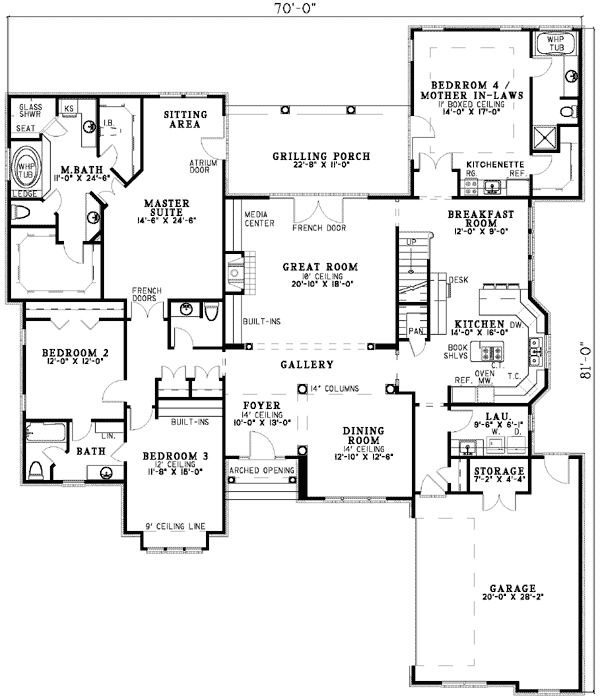 Plan 59638nd 3 Bed Brick Home Plan Two Master Suites Modular Home Floor Plans Home Design Floor Plans Traditional House Plans