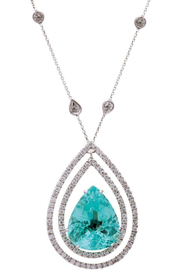 434480cf1b283 Gargantilha Léa e Esther Nigri de ouro branco com diamantes e turmalina  Paraíba