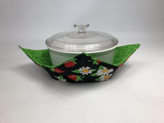 Strawberries and daisies microwave bowl large/ kitchen decorations/ bowl cozy/ fabric bowl holder/ pot holder/ gift for mom#bowl #cozy #daisies #decorations #fabric #gift #holder #kitchen #large #microwave #mom #pot #strawberries