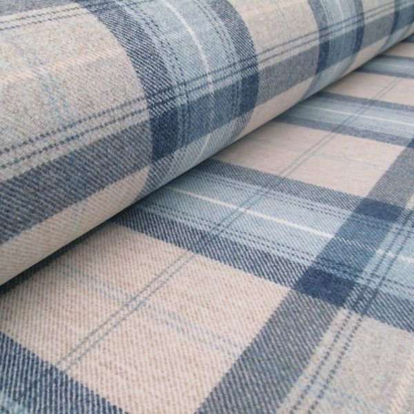 Designer Wool Effect Brushed Polyester Furnishing Fabric Blue//Grey Check