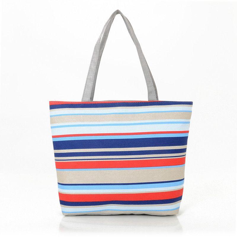 661903419d9b Striped Printed Women's Casual Tote Female Daily Use Female Shopping Bag  Ladies Single Shoulder Handbag Simple Beach Bag