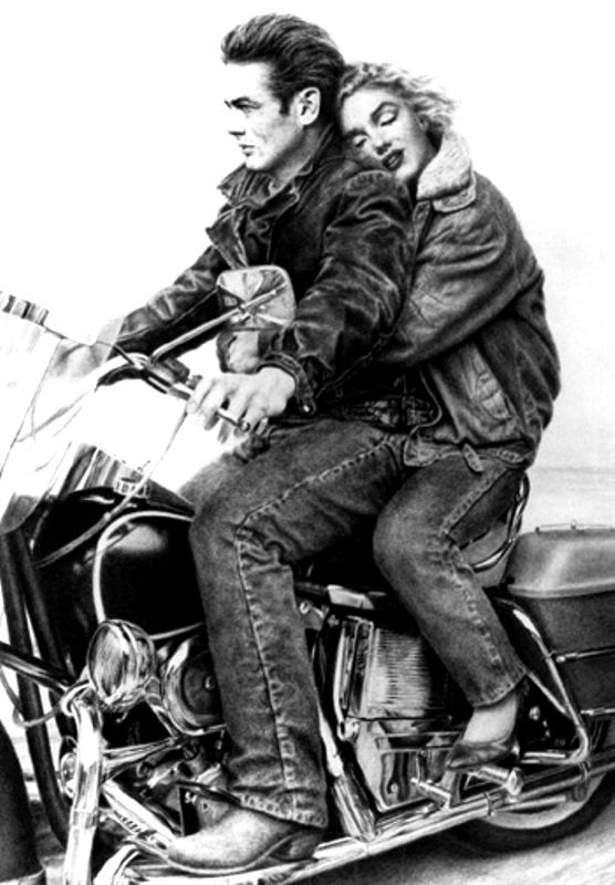 James Dean And Marilyn Monroe Motorcycle Celebrities On Bikes In