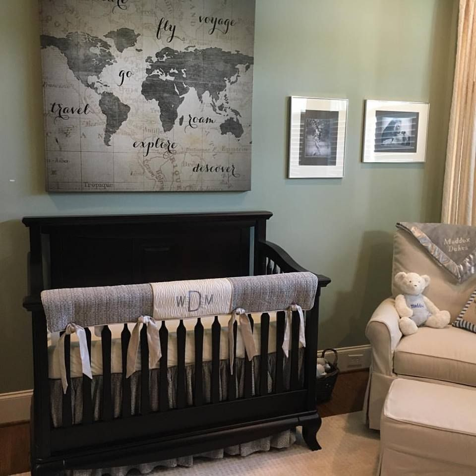 Grey Crib Bedding In A Travel Theme Nursery And We Added The Baby S Monogram To The Crib Rail G Boy Nursery Themes Travel Theme Nursery Baby Boy Nursery Themes