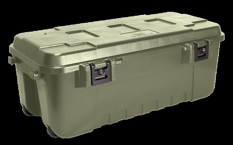 large Sportsman heavy duty green storage trunk with wheels