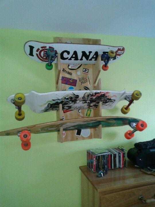 Diy Longboard Rack Longboard Skateboard Storage