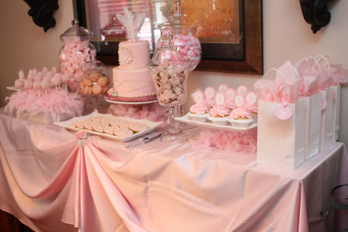 Pink Dessert Table Love The Cake Pop Display Baby Shower Table Set Up Pink Dessert Tables Pink Birthday Party