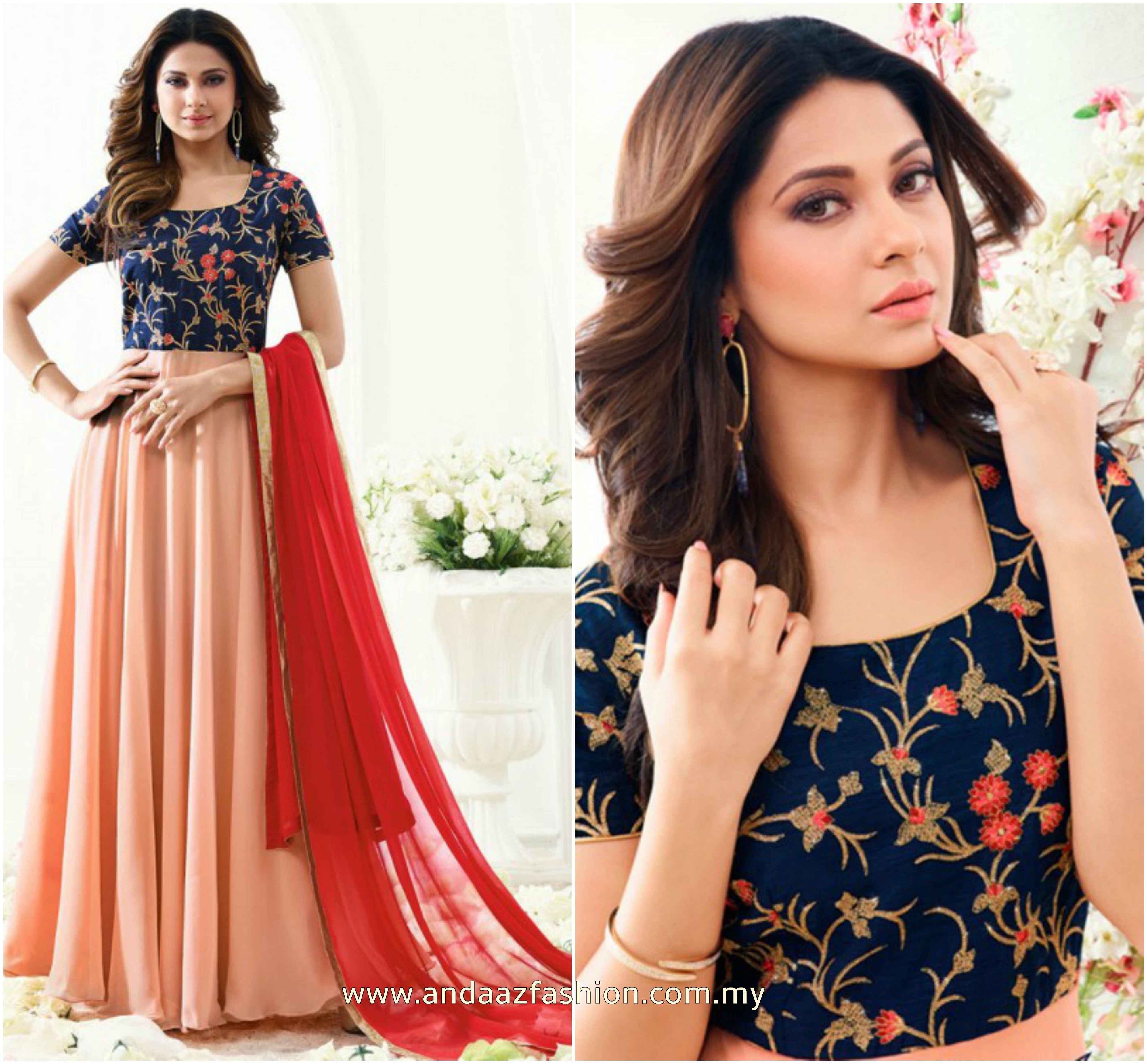 Party wear Anarkali suit Online at Andaaz Fashion Malaysia pink