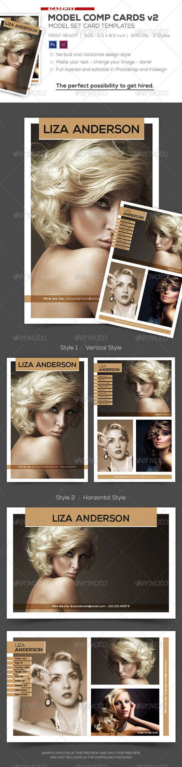 Model Comp And Set Card Templates V2 Photoshop Psd Modeling Agency Fashion Available Here Https Gr Model Comp Card Card Templates Free Card Templates