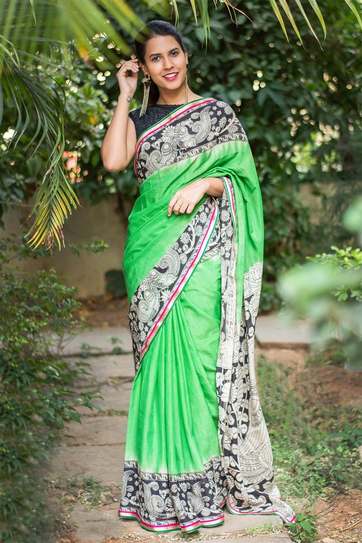 d98f5af5371309 Parrot green soft silk saree with printed Kalamkari border and pallu +  multicolour border #saree #blouse #houseofblouse #indian #bollywood #style  #green ...