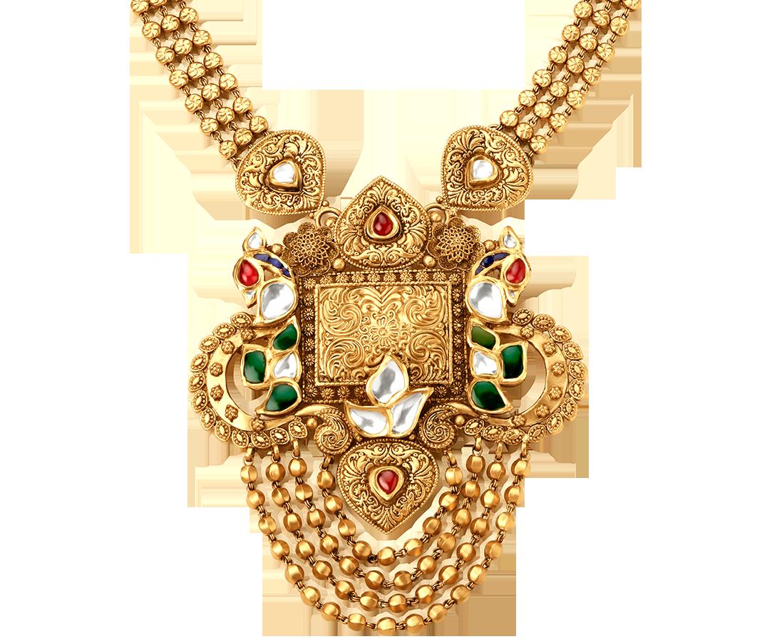 Tanishq rivaah glass kundan kt gold neckwear set jewellery