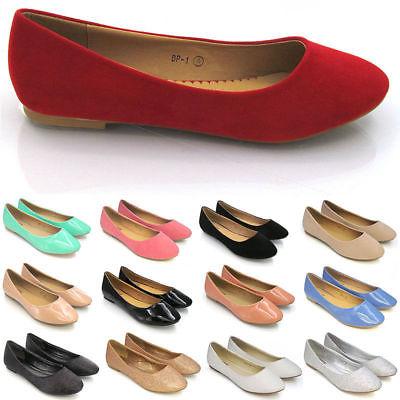Women Ladies Girls Flat Slip On Shoes Size UK Ballerina Pumps Ballet Dolly Shoe.