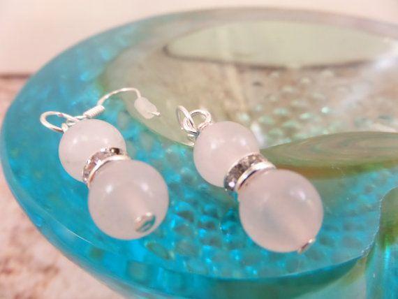 Rose Quartz earrings Rose Quartz with rhinestones by AllthingsBAB