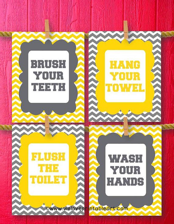 Wash Your Hands Sign, Kids Bathroom Decor, Flush the Toilet, Brush ...