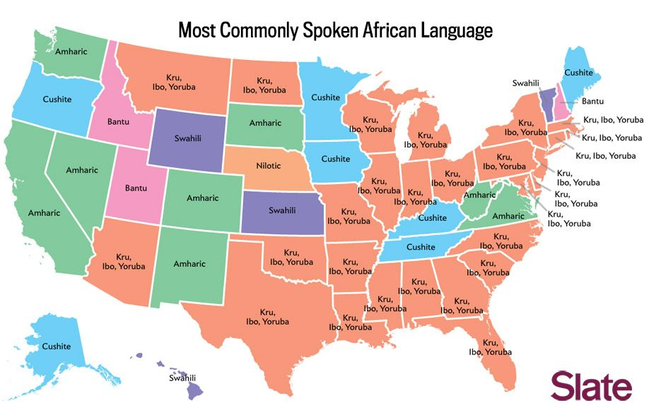 What Language Does Your State Speak Language Geography And - Map of us and africa