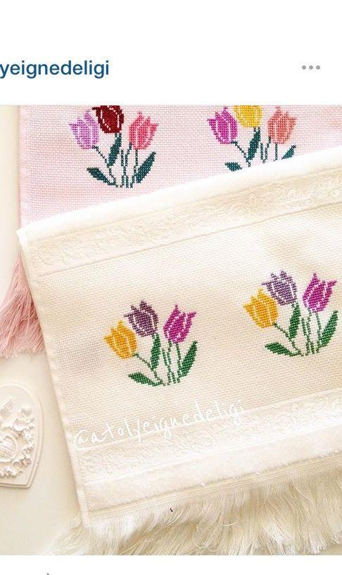 Pin de yohaaa aguero en toallas bellas | Pinterest | Bordado, Punto ...