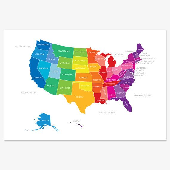 Bright and Colorful Map of the United States englishmuffinshop on