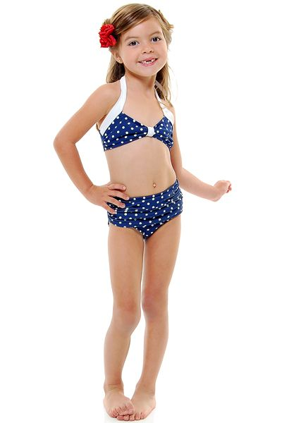 dbd6dd9320b Vintage Inspired 50 s Style Navy and White Polka Dot Two-Piece Halter Children s  Swimsuit