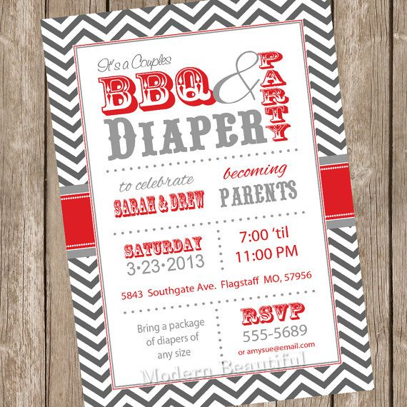 Couples BBQ and diaper Baby Shower Invitation barbecue red gray