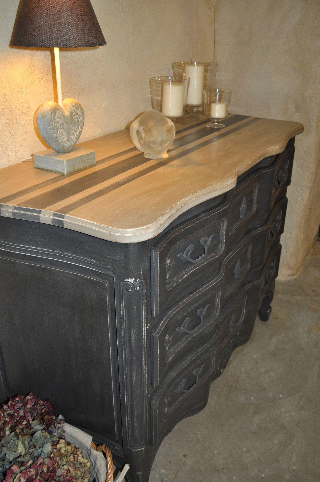 commode a arbalete en merisier massif de style louis xv patin e par les patines de m lusine. Black Bedroom Furniture Sets. Home Design Ideas