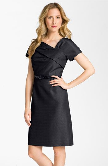 6fdccfa8c787 Oh, mom would look great in this one too! Tahari by Arthur S. Levine  Asymmetrical Neckline Belted Jacquard Dress   Nordstrom