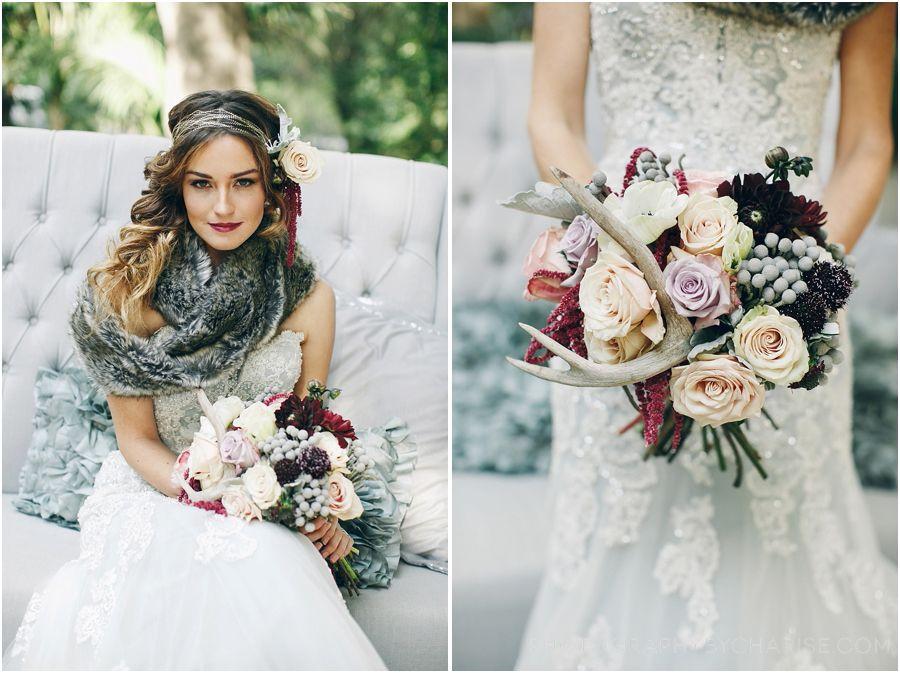 Vintage winter wedding. Antler wedding details. David Tutera wedding ...