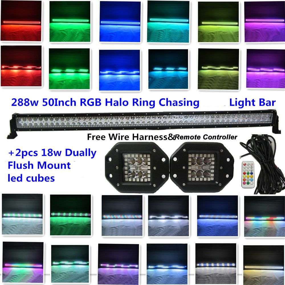 Get Discount Honzdda 50 288w Off Road Light Bar Rgb Halo Ring Wiring Lights Chasing Led With 2pcs Dually Cube 18w Pods Free Wire Kit