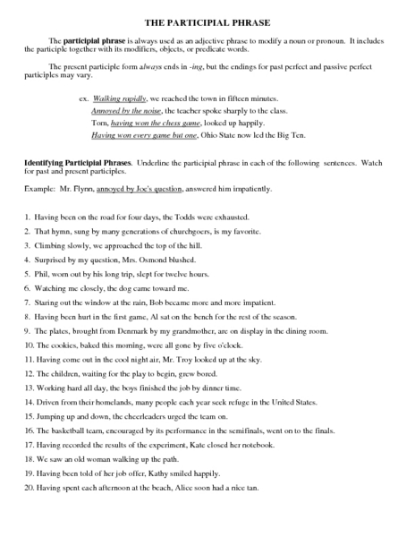 Participial Phrases Worksheet Google Search Participial Phrases Lesson Planet Teacher Lessons