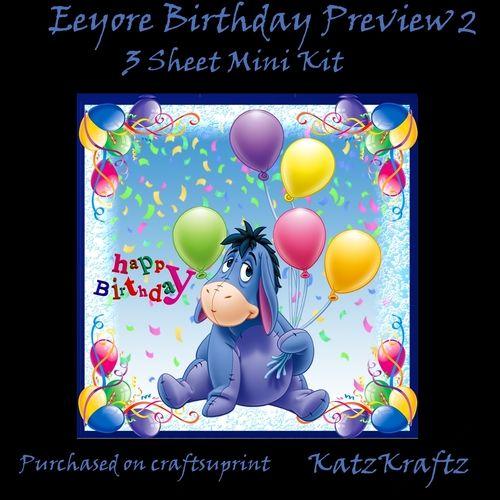 Eeyore Birthday Card Mini Kit 2 by Katrina Noelle This kit has 3 – Eeyore Birthday Cards