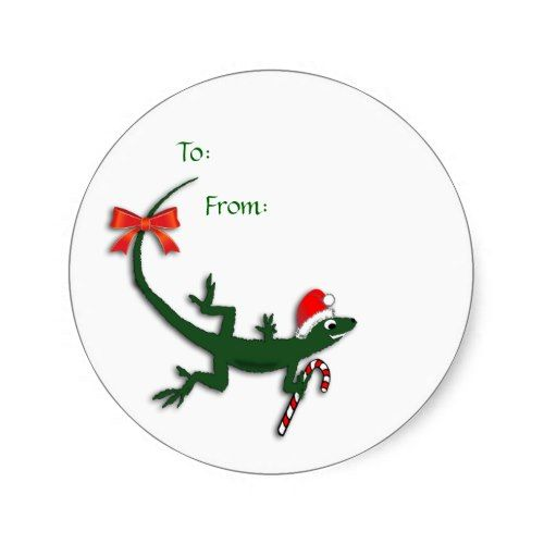 Cute Christmas Lizard Gift Label Stickers Zazzle Com Gift Labels Stickers Gift Labels Sticker Labels
