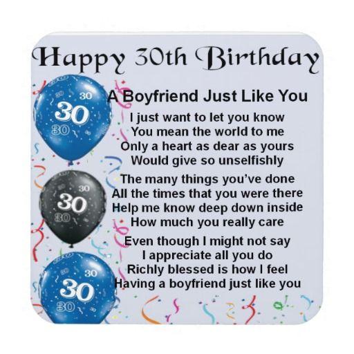 Boyfriend Poem 30th Birthday Coaster Zazzle Co Uk 21st Birthday Wishes 21st Birthday Quotes 30th Birthday Wishes