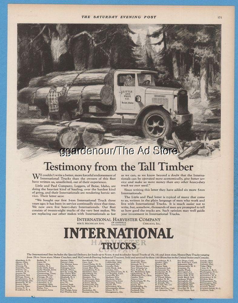 1928 International Harvester Logging Truck Little and Paul Co Boise