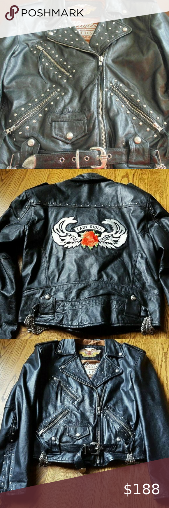 Harley Davidson Lady Rider Studded Leather Jacket Studded Leather Jacket Studded Leather Clothes Design [ 1740 x 580 Pixel ]