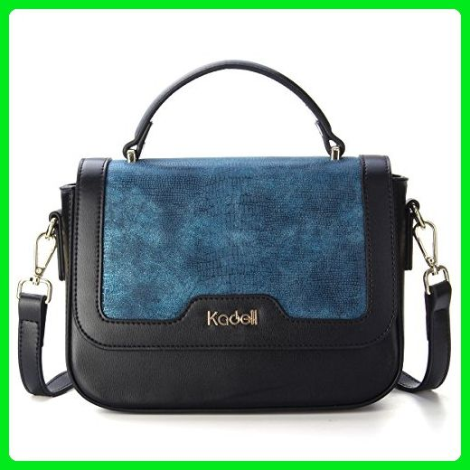 621207fff89 Kadell Women Leather Handbags Shoulder Bags Stitching Flip Small Square Satchel  Purse Blue - Satchels ( Amazon Partner-Link)