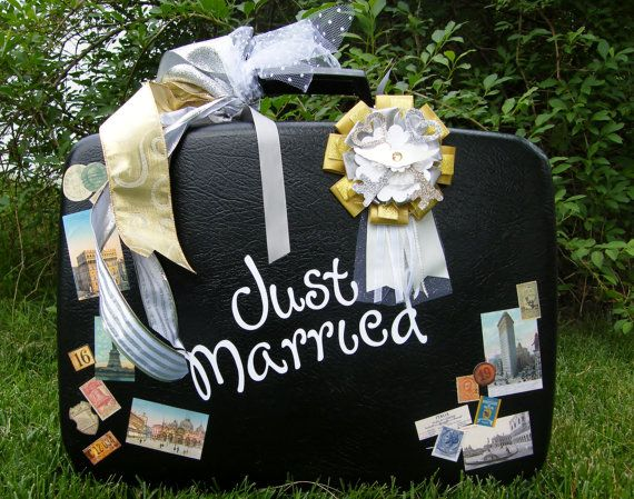 Wedding Card HolderVintage Suitcase by posey616 on Etsy, $50.00