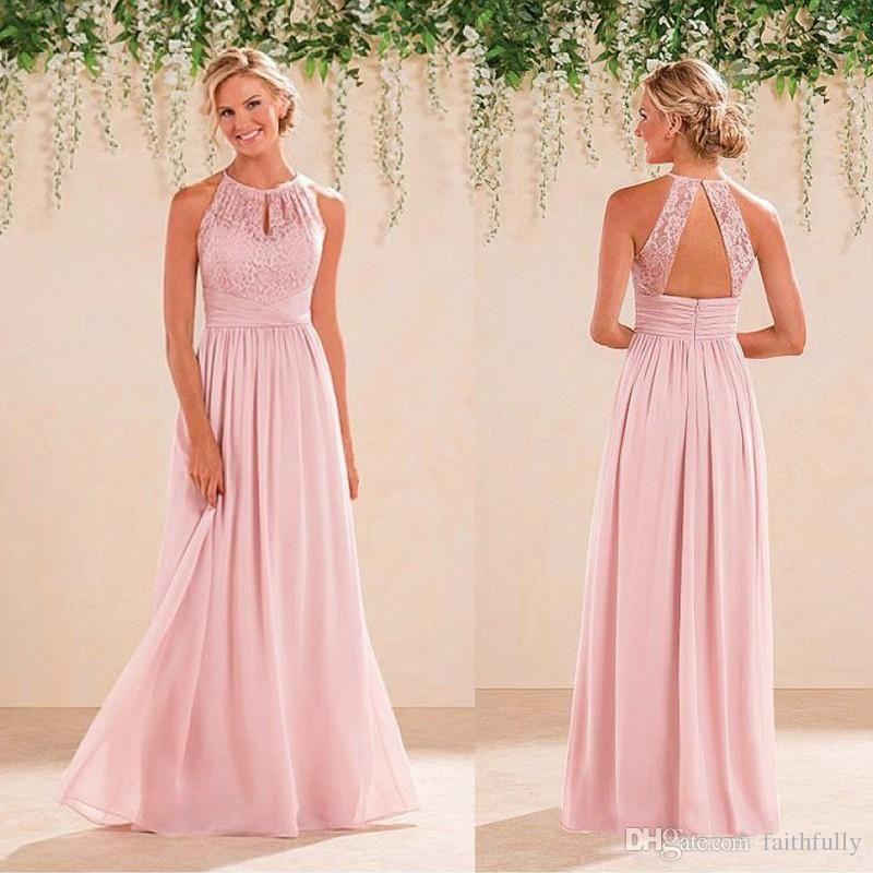 2017 Cheap A Line Lace Chiffon Bridesmaid Dresses A Line Jewel ...