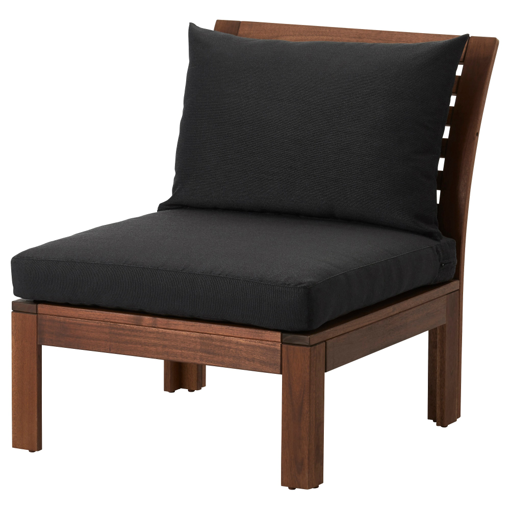 ÄPPLARÖ Chair, outdoor brown stained, Hållö black black