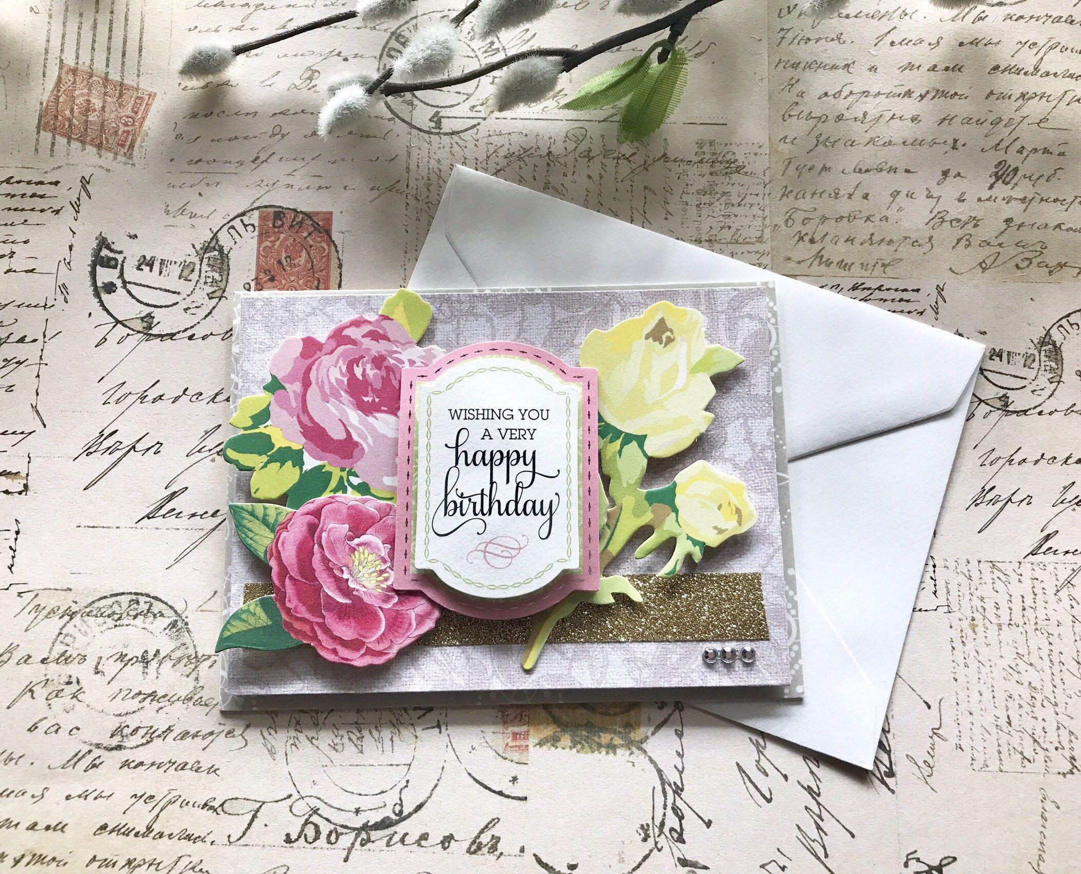 Happy Birthday Handmade Card Greeting Card Luxury Greeting Card