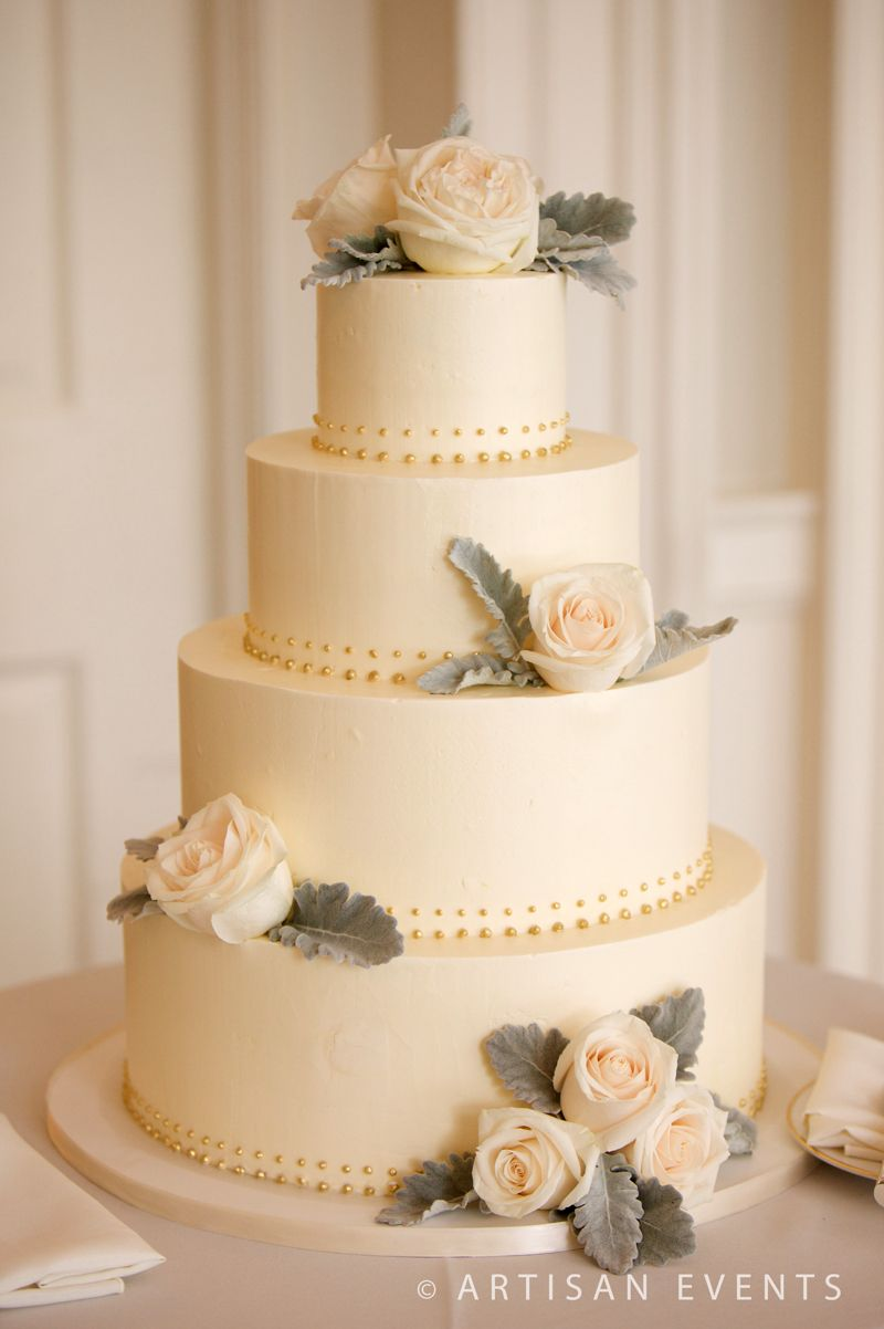 Amy Beck Cake Design - Chicago, IL - 4 Tier buttercream wedding cake with golden pearls and fresh roses - #amybeckcakedesign