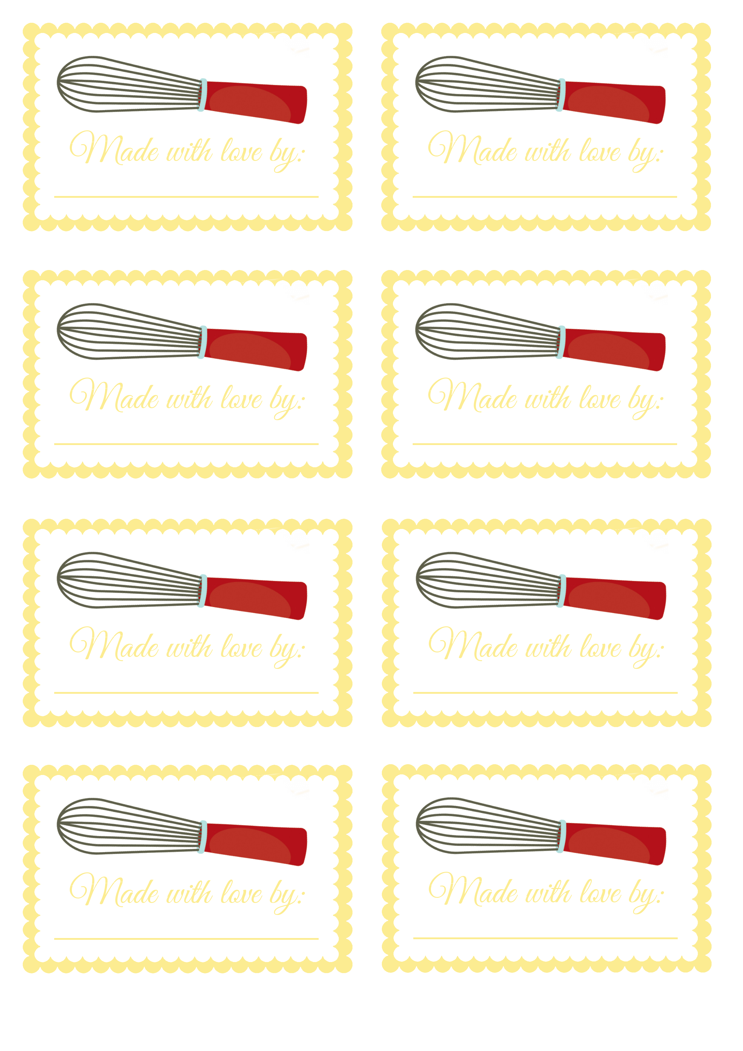 Made With Love By Homemade Food Labels