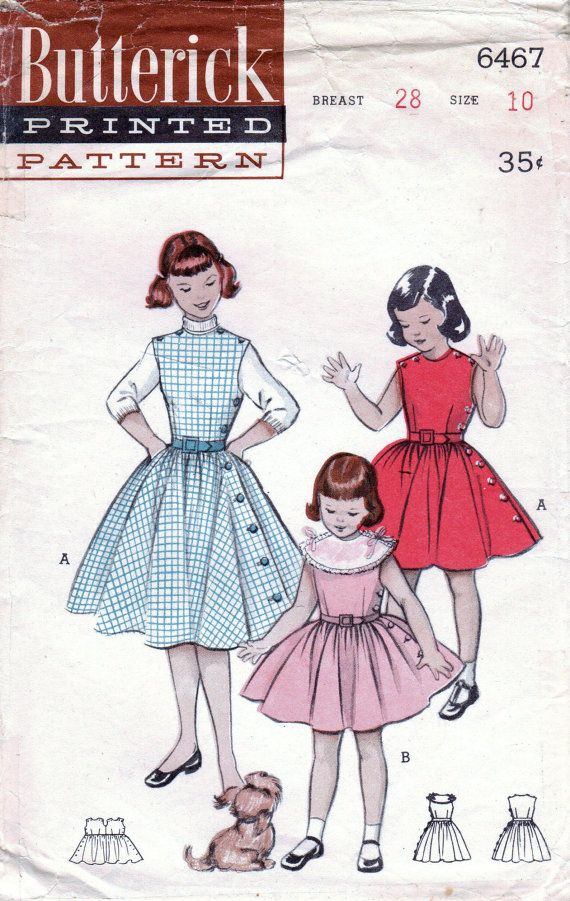1950s Butterick 6467 Vintage Sewing Pattern Girls Circle Skirt Dress ...