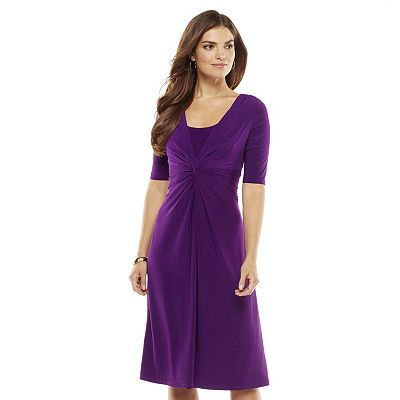 Chaps Solid Knot-Front Empire Dress - Petite Would it fit all the girls?