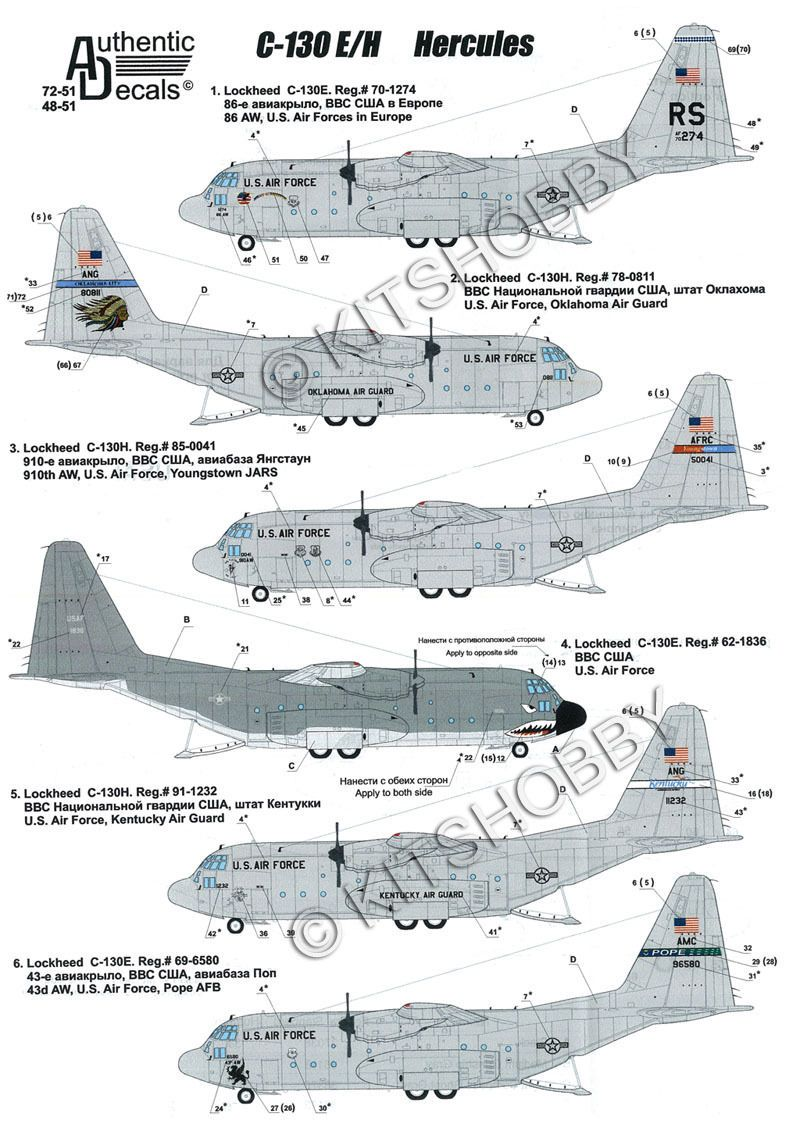 Authentic decals 1 72 lockheed c 130 hercules us air force ebay
