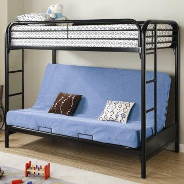 Fordham Twin Over Full Futon Metal Bunk Bed In Black Dimensions Height 64 5 Width 41 75 Length Futon Bunk Bed Metal Bunk Beds Bunk Beds With Stairs
