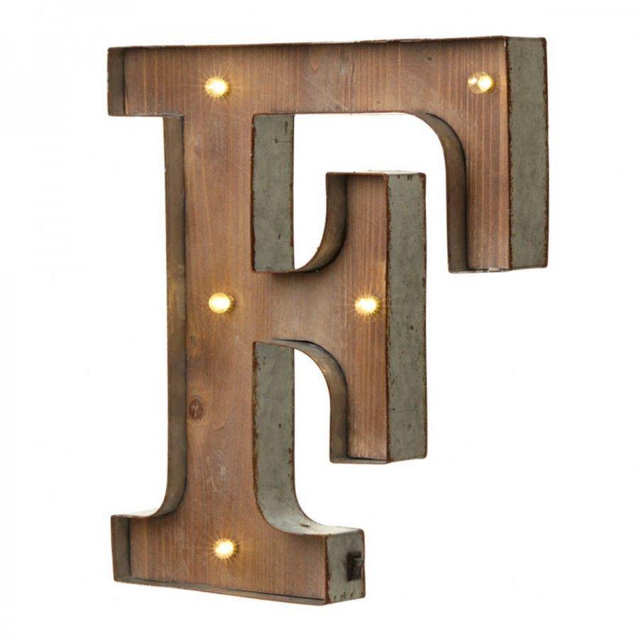 Tin Letters With Lights Interesting Wood & Metal 'f' Battery Light Up Circus Letter 41Cm  Alphabet Inspiration