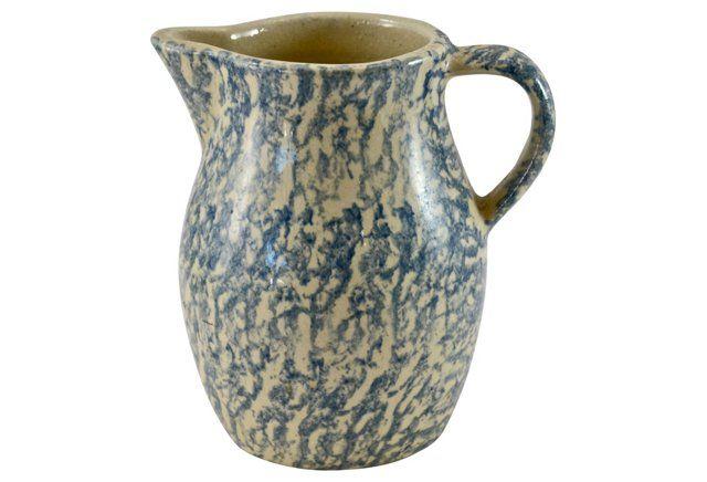 Blue Spongeware  Vase