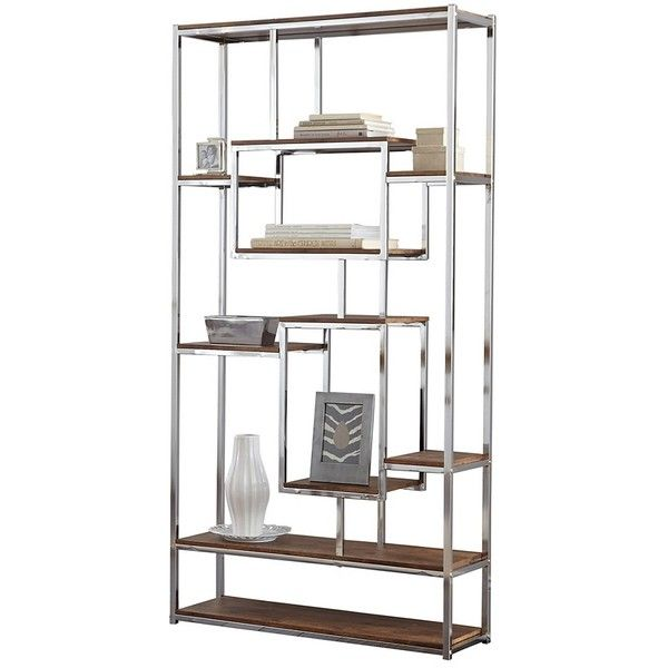 Alana Chrome And Faux Wood Bookshelf 360 Liked On Polyvore Featuring Home