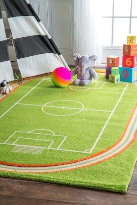 Rugs Usa Green Kids Zone Playtime Miniature Soccer Field Rug Kids Rectangle 5 X 7 5 Kids Area Rugs Cool Rugs Kids Zone