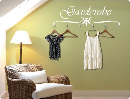 Fabulous Wandtattoo Garderobe mit Haken | Wandsticker Garderobe | Pinterest  UR08