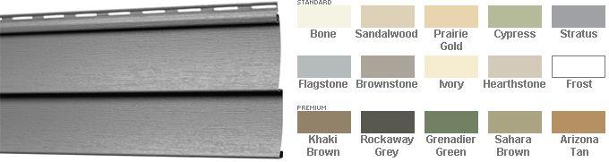 Mitten Highland Double Four Horizontal Vinyl Siding Vinyl Siding Green And Grey Brown And Grey