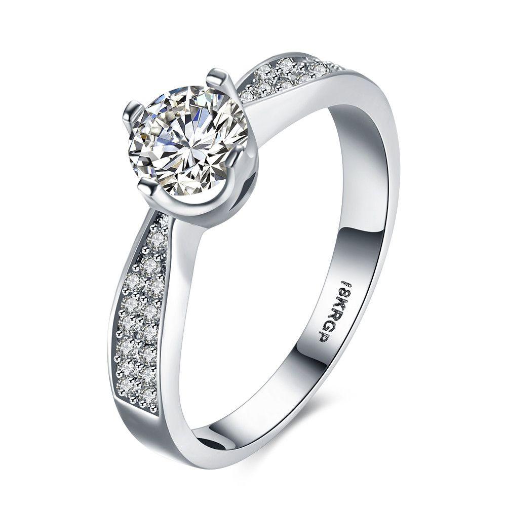 18k platinum plated romantic style zircon costume ring